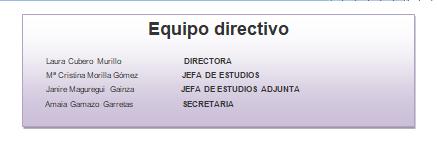 Equipo directivo - Información