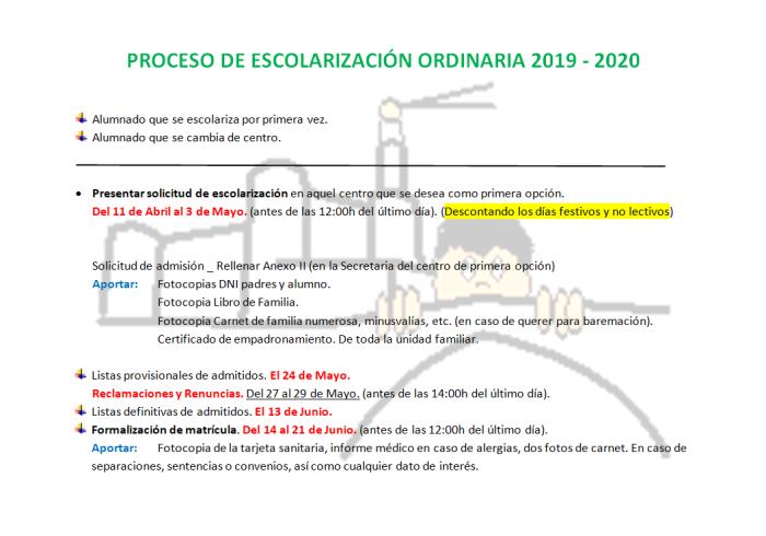 20190206 Proceso de escolarización ordinaria 2019-2020