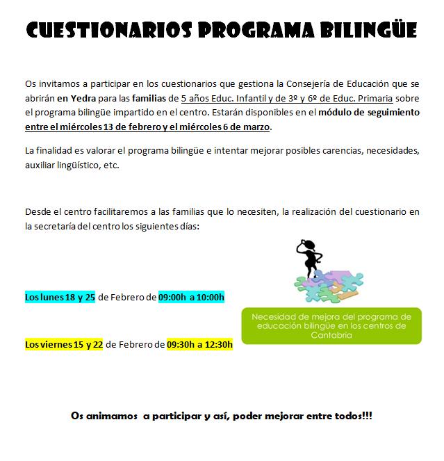 Cuestionarios programa bilingüe