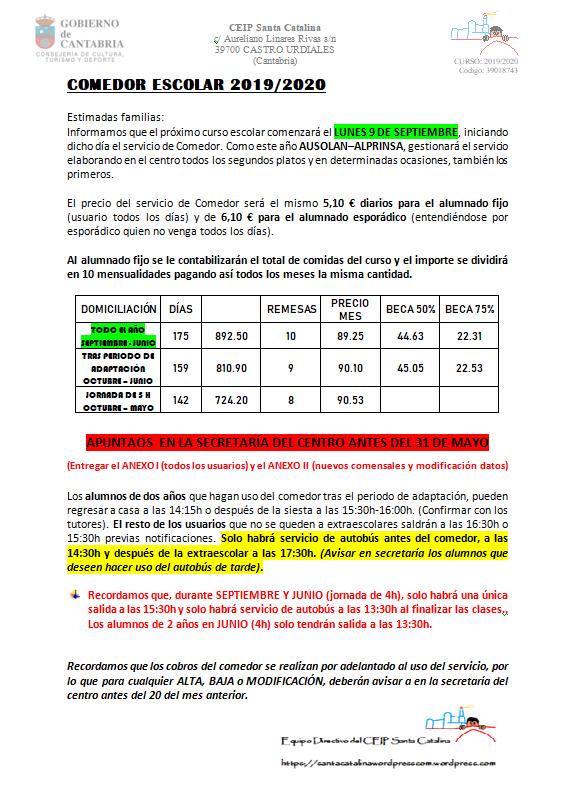 COMEDOR ESCOLAR 2019-2020 CIRCULAR