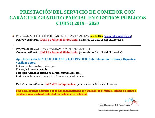 Cartel Becas Comedor 2019-2020