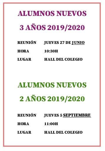 Reunión 2 y 3 años nuevos 2019-2020