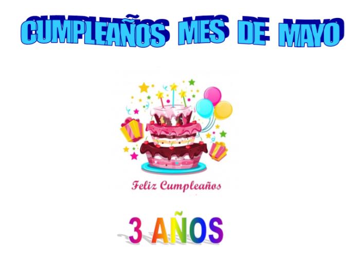 Cumpleaños mayo 2 años