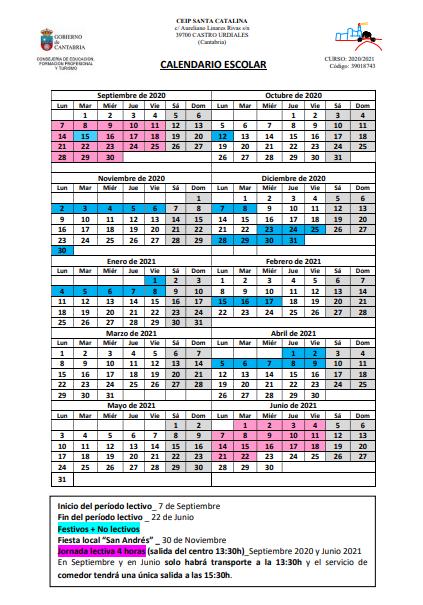 Calendario escolar con fiesta